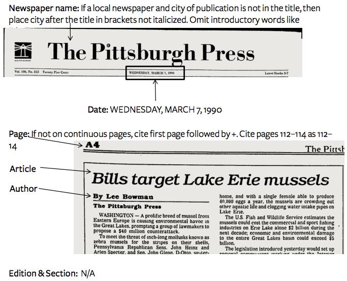MLA: Newspaper - EasyBib