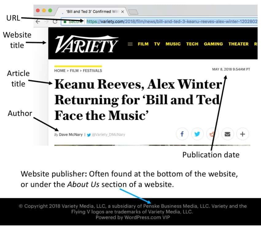 How do you cite a website in an essay