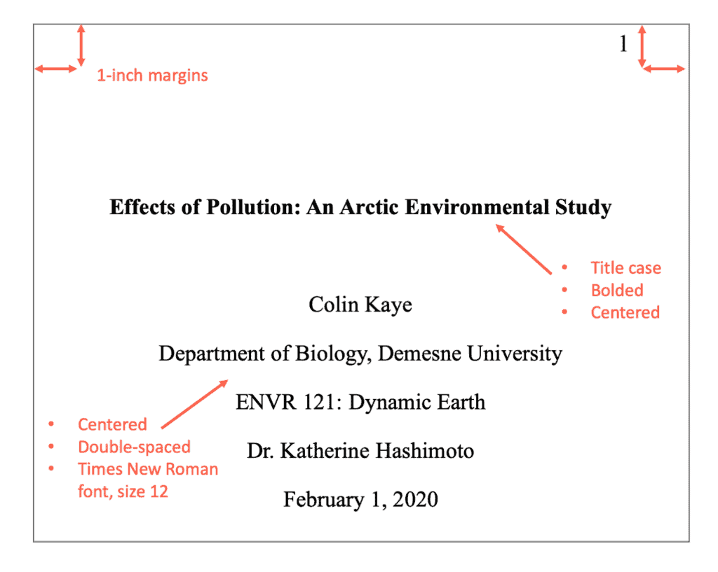 APA style student title page example